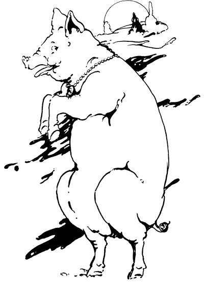 Original vintage illustration of pig sliding down for children's short story The Little Red Hen