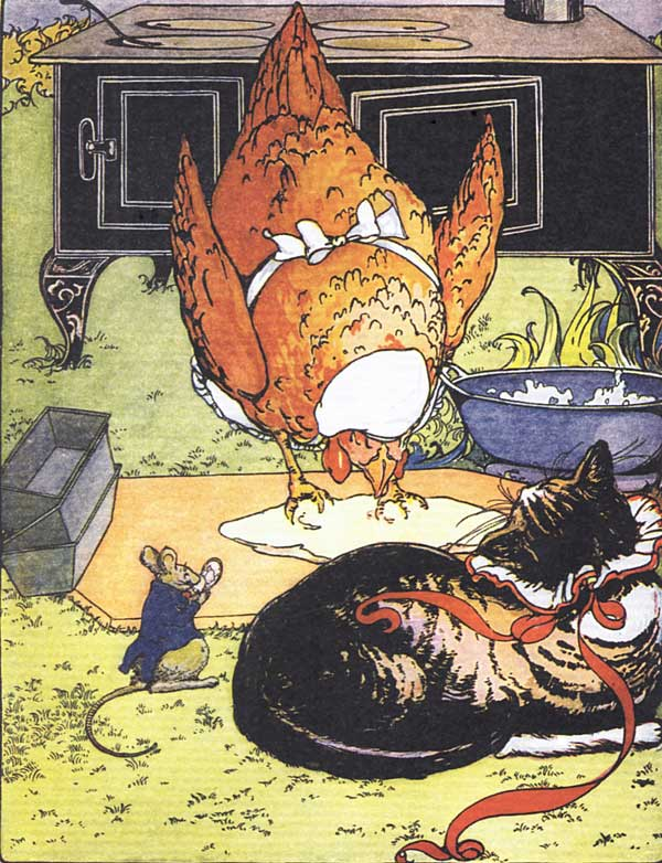 Original vintage illustration of chicken, cat and rat in barn, for children's short story The Little Red Hen