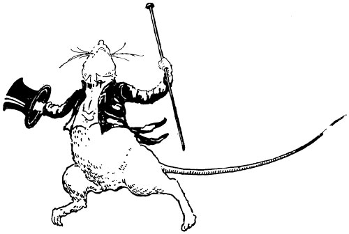 Original vintage illustration of fancy rat in top hat dancing for children's short story The Little Red Hen