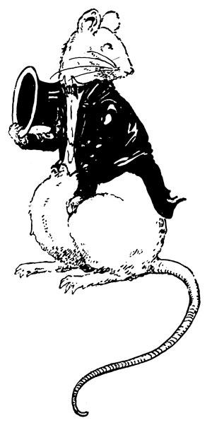 Original vintage illustration of rat with hat for children's short story The Little Red Hen