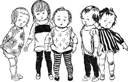 Illustration of sad children, for Dickens short story The Magic Fishbone by S. Beatrice Pearse