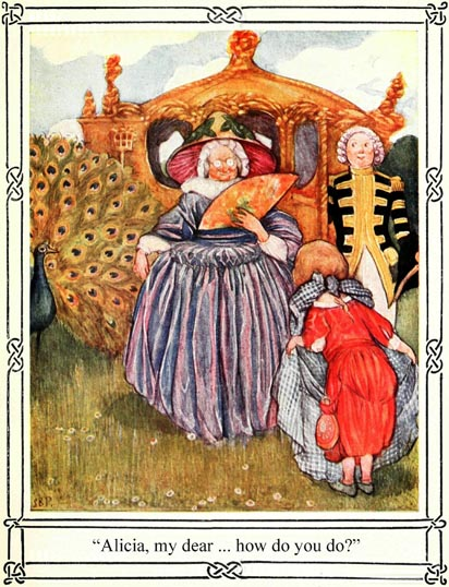 Illustration of little girl curtseying to older woman, for Dickens short story The Magic Fishbone by S. Beatrice Pearse