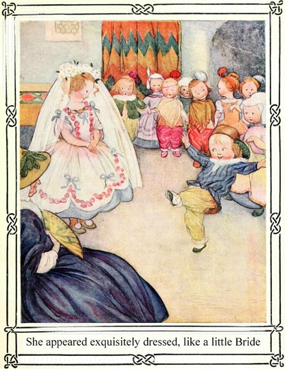 Illustration of bride dress-ups and children dancing, for Dickens short story The Magic Fishbone by S. Beatrice Pearse
