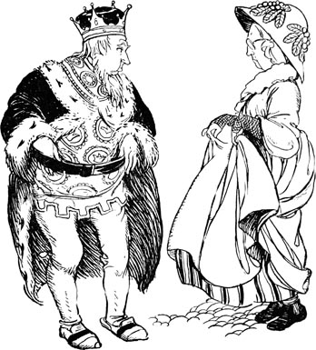 Illustration of King and Queen for Dickens  short story The Magic Fishbone by S. Beatrice Pearse