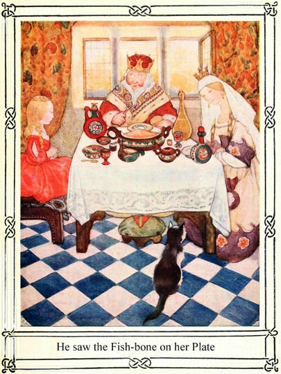 Illustration of royal family at dining table for Dickens short story The Magic Fishbone by S. Beatrice Pearse