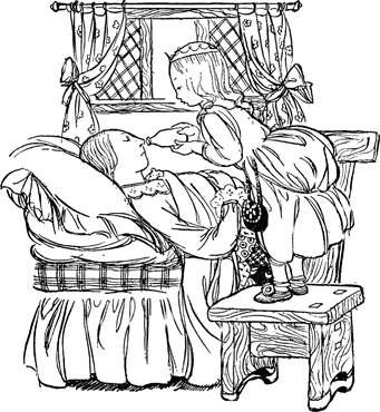 Illustration of Princess looking after sick Queen for Dickens short story The Magic Fishbone by S. Beatrice Pearse