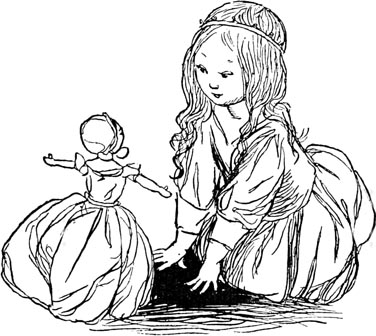 Illustration of Princess and doll for Dickens short story The Magic Fishbone by S. Beatrice Pearse