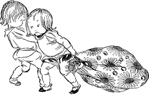 Illustration of children pulling sack, for Dickens short story The Magic Fishbone by S. Beatrice Pearse