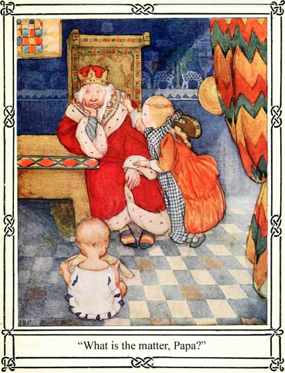 Illustration of sad King and children, for Dickens short story The Magic Fishbone by S. Beatrice Pearse