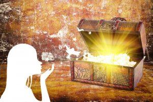 Golden treasure box illustration for Pandoras Box short stories for kids