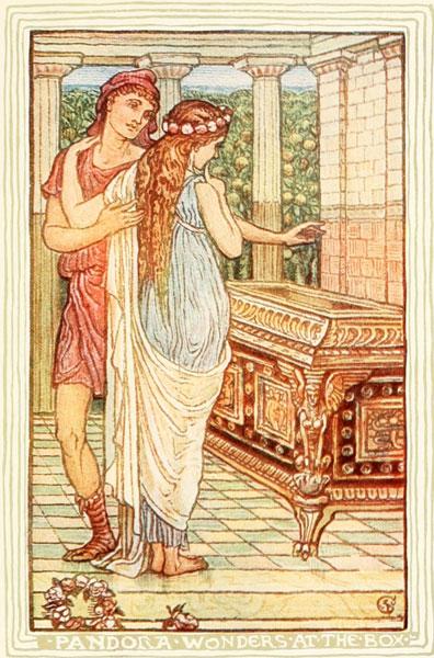 Pandora and Epimetheus with Pandora's Box in Nathaniel Hawthorne's short stories for kids