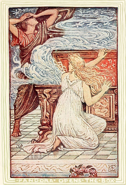 Pandora opening the box, illustration by Walter Crane for children's story by Nathaniel Hawthorne