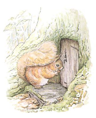 Original Beatrix Potter illustration of squirrel at front door of tree, for Squirrel Nutkin bedtime story