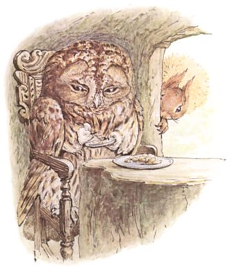 Original Beatrix Potter illustration of owl at dinner table in tree, for Squirrel Nutkin bedtime story
