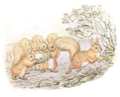 Original Beatrix Potter illustration of squirrels running, for Squirrel Nutkin bedtime story
