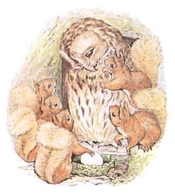 Original Beatrix Potter illustration of owl and squirrels cuddling, for Squirrel Nutkin bedtime story