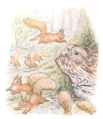 Original Beatrix Potter illustration of owl and squirrels leaping in forest, for Squirrel Nutkin bedtime story