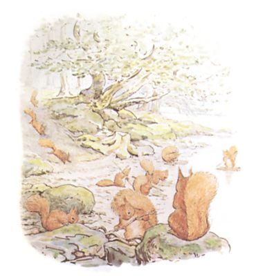 Original Beatrix Potter illustration of squirrels playing in forest, for Squirrel Nutkin bedtime story