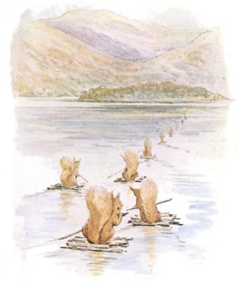 Original Beatrix Potter illustration of squirrels crossing river on rafts, for Squirrel Nutkin bedtime story