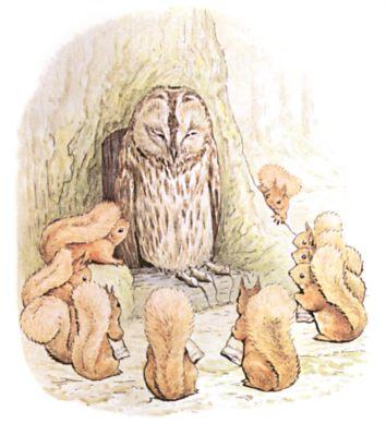 Original Beatrix Potter illustration of owl telling a story, for Squirrel Nutkin bedtime story