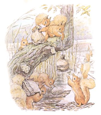 Original Beatrix Potter illustration of squirrels filling bags with nuts, for Squirrel Nutkin bedtime story