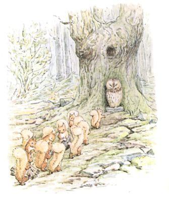 Original Beatrix Potter illustration of squirrels nut gathering, for Squirrel Nutkin bedtime story
