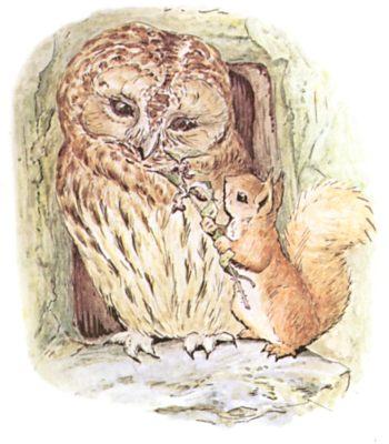Original Beatrix Potter illustration of owl and squirrel talking, for Squirrel Nutkin bedtime story