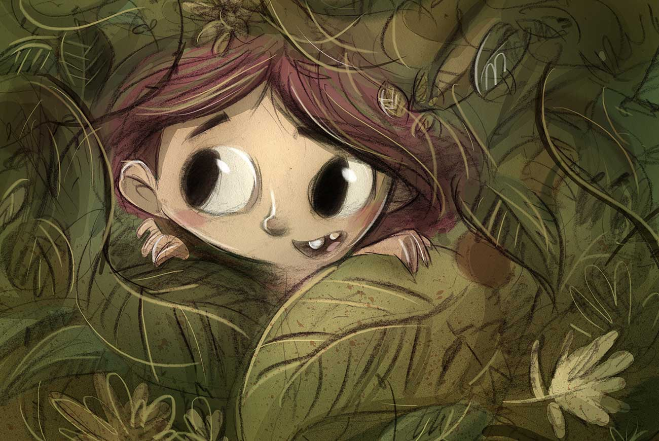Illustration of child in jungle leaves for bedtime story The Jungle Baby