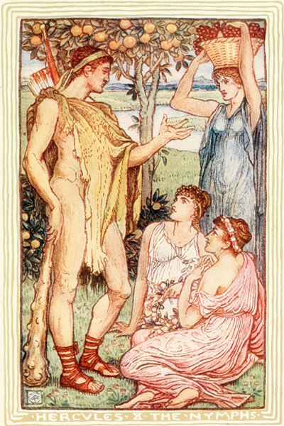 Children's book illustration of Hercules and the Nymphs by Walter Crane