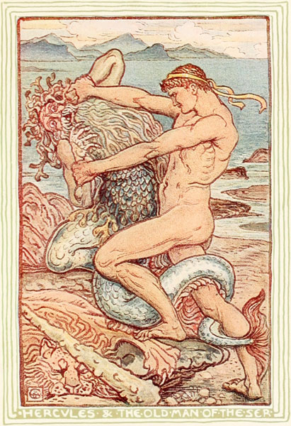 Children's story illustration of Hercules and the Old Man of the Sea by Walter Crane
