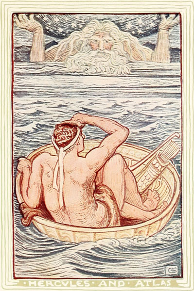 Children's story illustration by Walter Crane - Hercules sees Atlas.