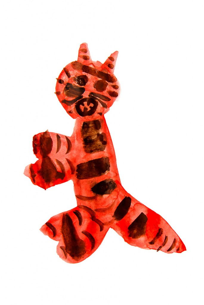 Kids painting of tiger from short stories for kids The Magic Paintbrush