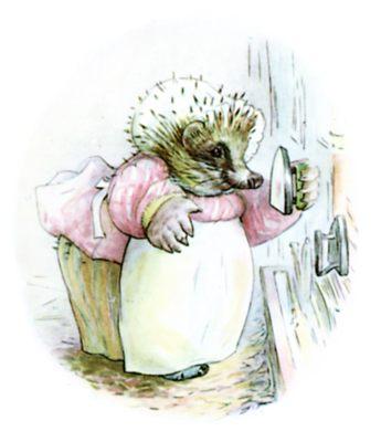 Beatrix Potter illustration of hedgehog for bedtime story Tiggy Winkle