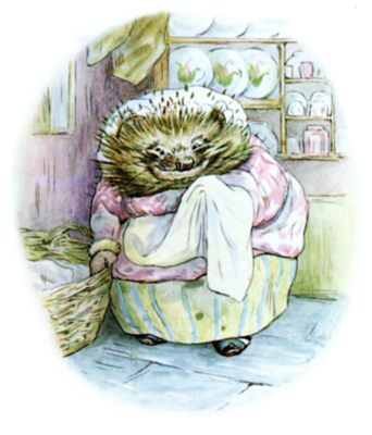 Beatrix Potter illustration of hedgehog in hat and dress for bedtime story Tiggy Winkle