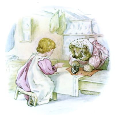 Beatrix Potter illustration of hedgehog and girl at table for bedtime story Tiggy Winkle
