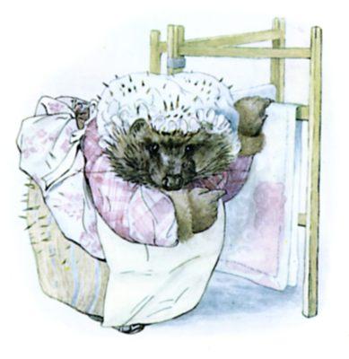 Beatrix Potter illustration of hedgehog hanging teatowels for bedtime story Tiggy Winkle