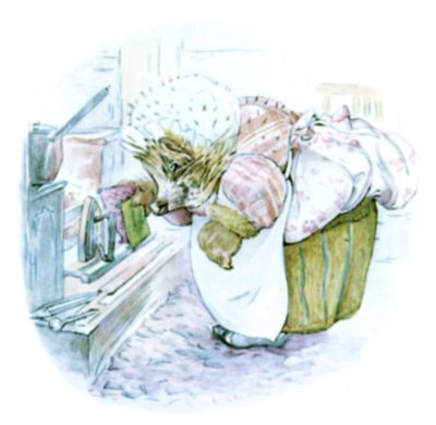 Beatrix Potter illustration of hedgehog and washing for bedtime story Tiggy Winkle