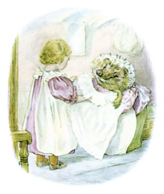 Beatrix Potter illustration of hedgehog and girl in dresses for bedtime story Tiggy Winkle