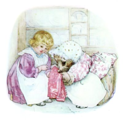 Beatrix Potter illustration of hedgehog and girl washing towel for bedtime story Tiggy Winkle