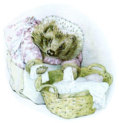 Beatrix Potter illustration of hedgehog and washing basket for bedtime story Tiggy Winkle