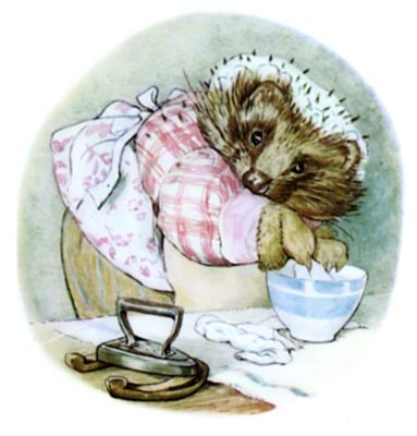 Beatrix Potter illustration of hedgehog and ironing for bedtime story Tiggy Winkle