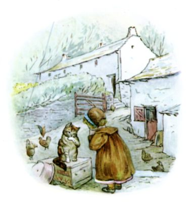 Beatrix Potter illustration of girl at farm for bedtime story Tiggy Winkle