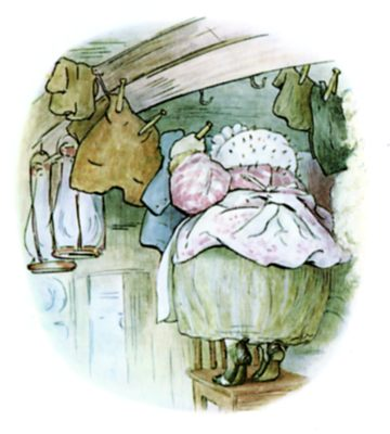 Beatrix Potter illustration of hedgehog hanging clothes on the line for bedtime story Tiggy Winkle
