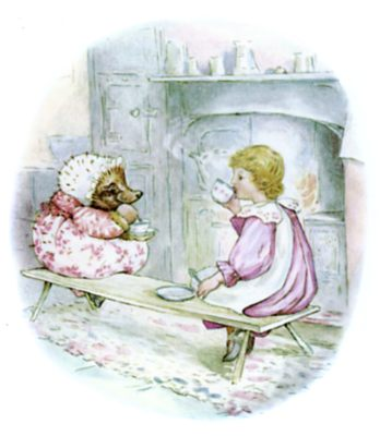 Beatrix Potter illustration of hedgehog having tea with girl for bedtime story Tiggy Winkle