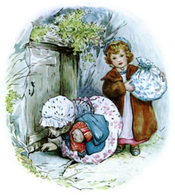 Beatrix Potter illustration of hedgehog and girl returning clean washing for bedtime story Tiggy Winkle