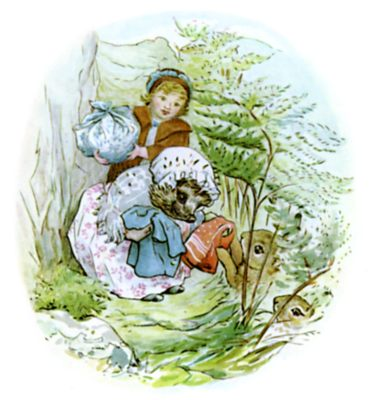 Beatrix Potter illustration of hedgehog and girl delivering clean clothes for bedtime story Tiggy Winkle