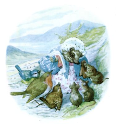 Beatrix Potter illustration of hedgehog and swallows for bedtime story Tiggy Winkle