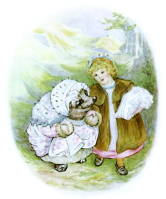 Beatrix Potter illustration of hedgehog and girl walking hand in hand for bedtime story Tiggy Winkle