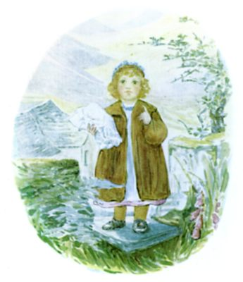 Beatrix Potter illustration of Lucie in washing for bedtime story Tiggy Winkle