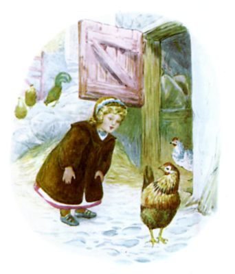 Beatrix Potter illustration of girl aand chickens for bedtime story Tiggy Winkle